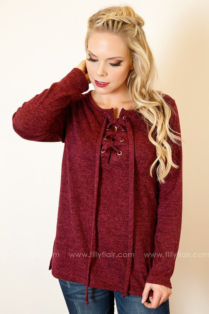 Soft Allure Lace-Up Sweater in Burgundy