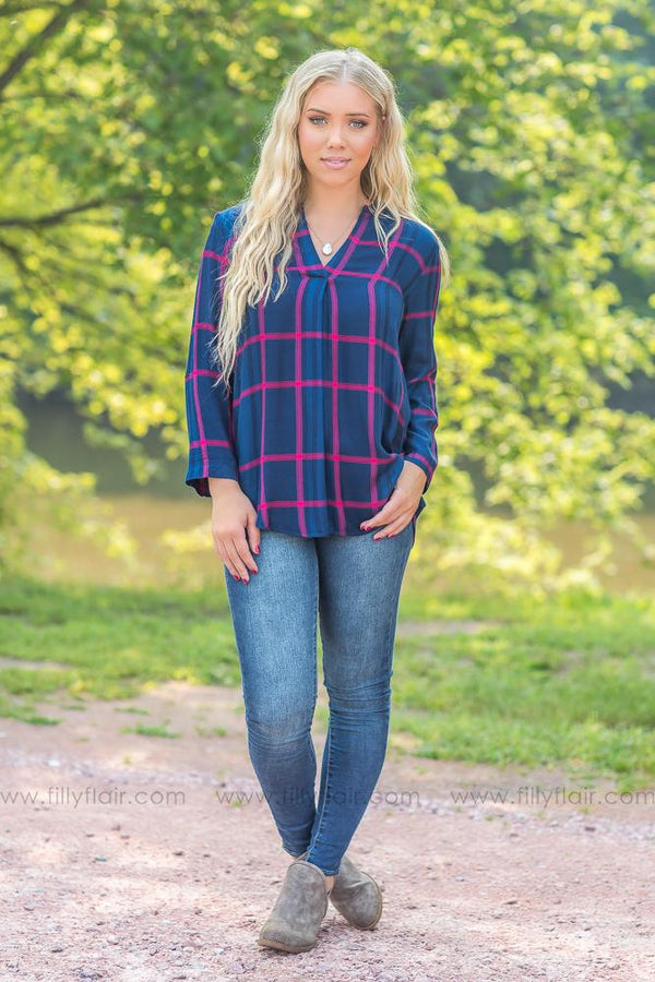 Every Plaid Way Top in Navy - Filly Flair