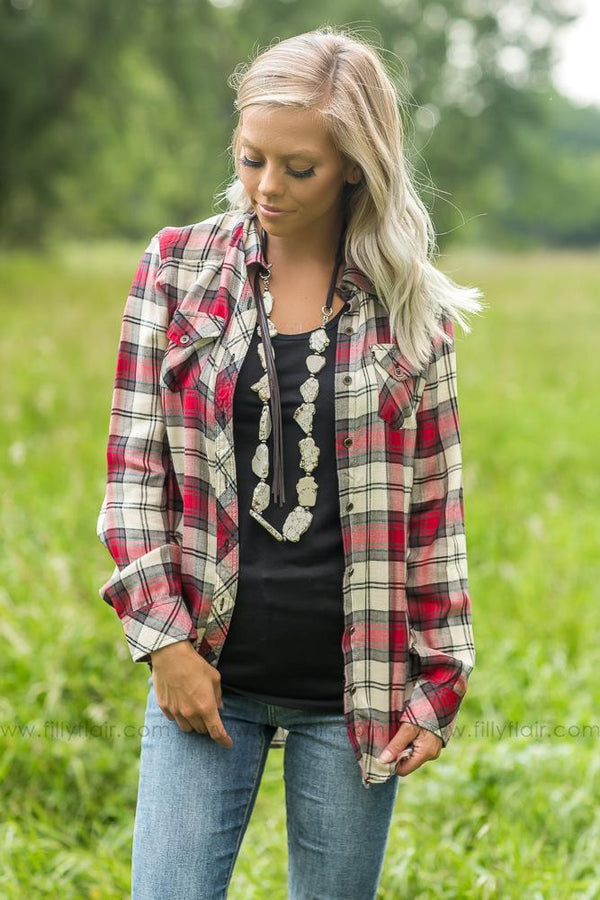 Perfect in Plaid Button Up Top in White and Red - Filly Flair