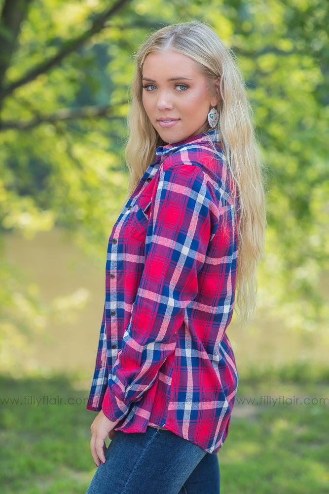 Flannel Days Red and Blue Plaid Button Up - Filly Flair