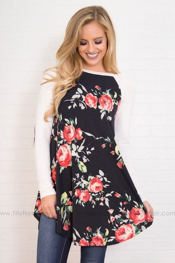 What A Feeling Long Sleeve Elbow Patch Tunic in Black Floral