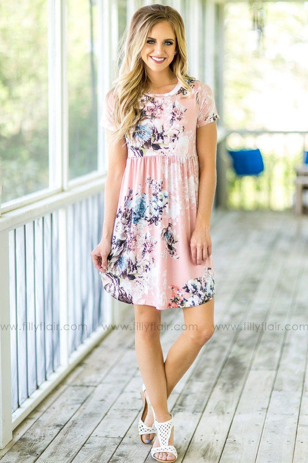 Sunshine Days Floral Babydoll Dress in Blush