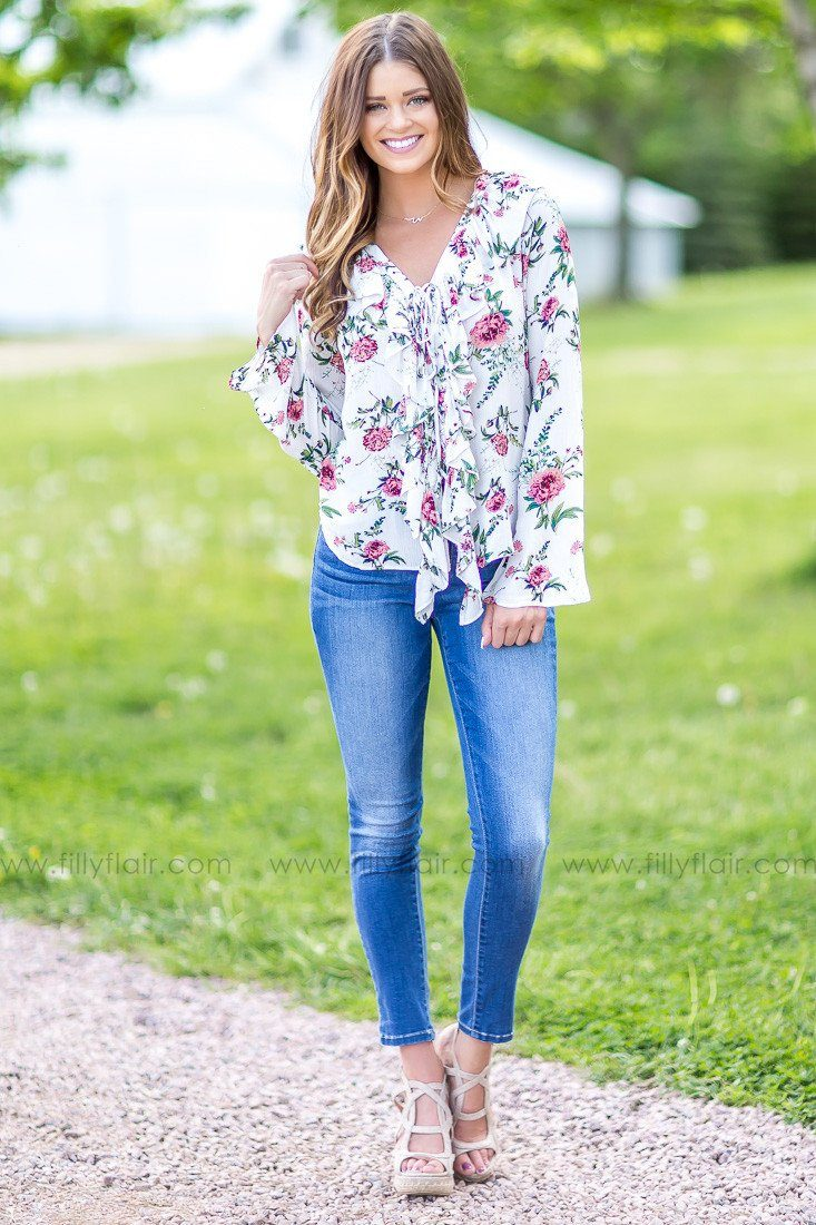 Island Life Floral Print Lace Up Top in Pink- Exclusive