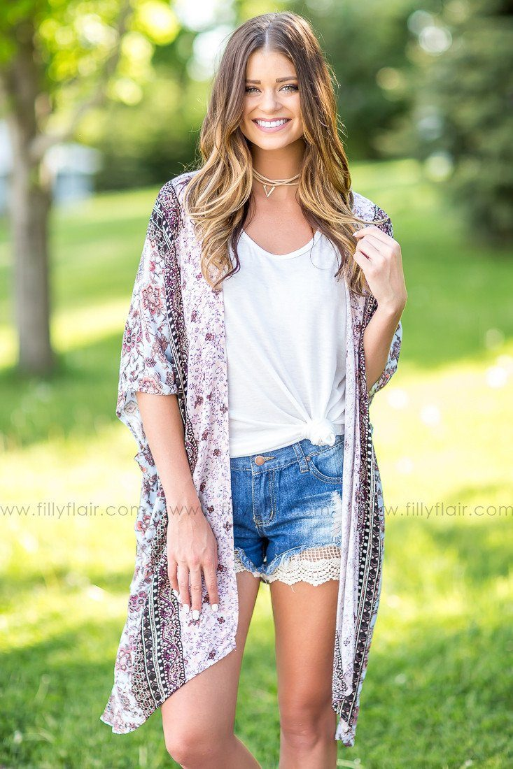 In The Moonlight Floral Print Kimono