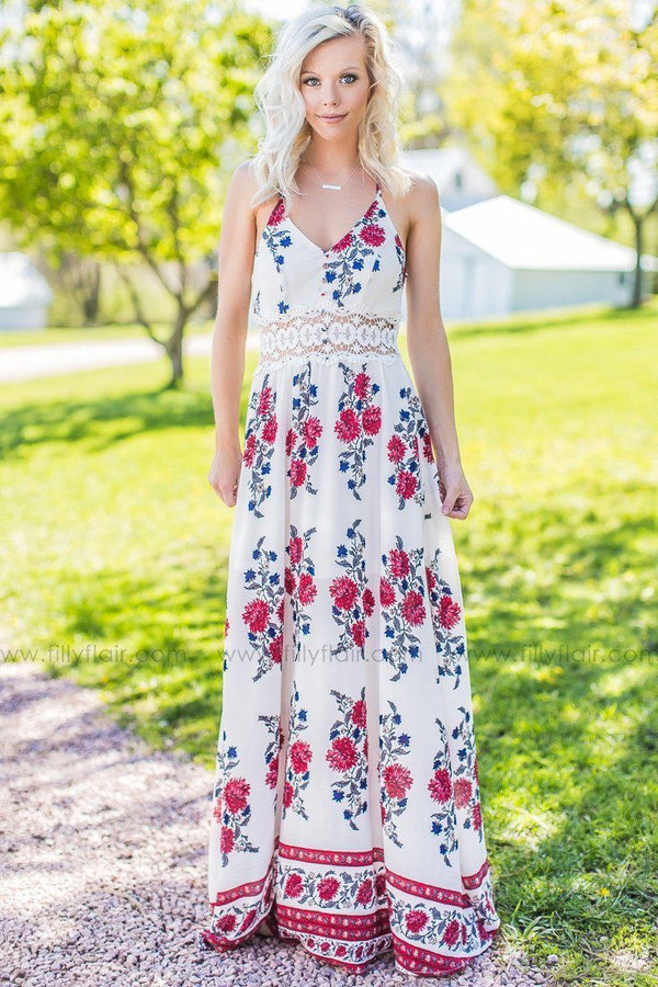 All For Love Ivory Floral Maxi Dress