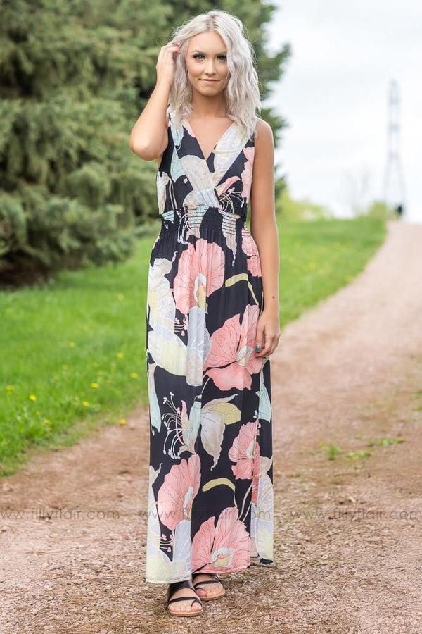 Lead The Way Sleeveless Floral Maxi Dress In Black