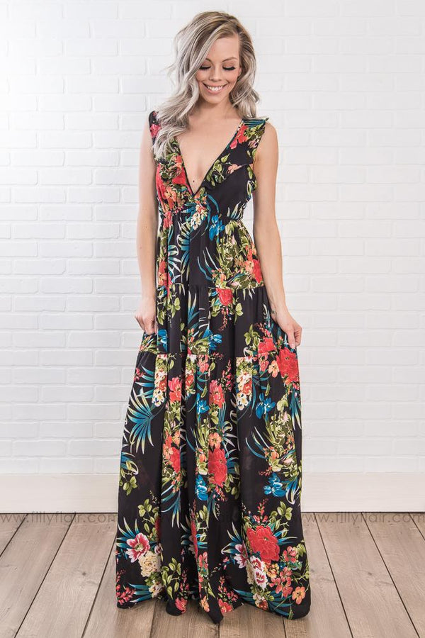 If I Knew Then Plunging Floral Maxi Dress In Black