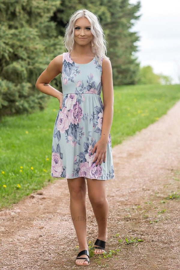 Feel My Love Floral Printed Sleeveless Dress in Sage