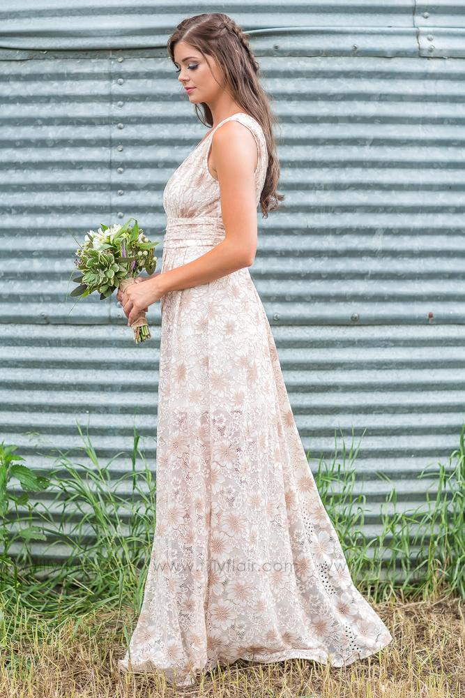 All My Love Lace Sleeveless Bridesmaid Maxi Dress In Taupe Ivory