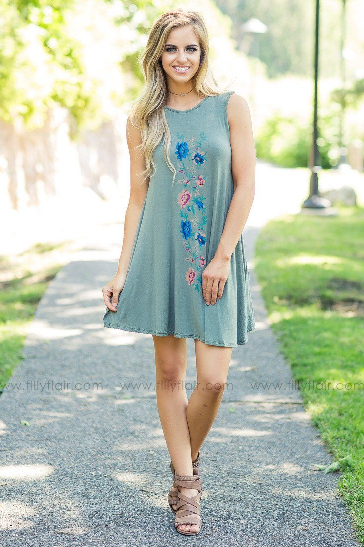 Olive in my Mind Floral Print Shift Dress