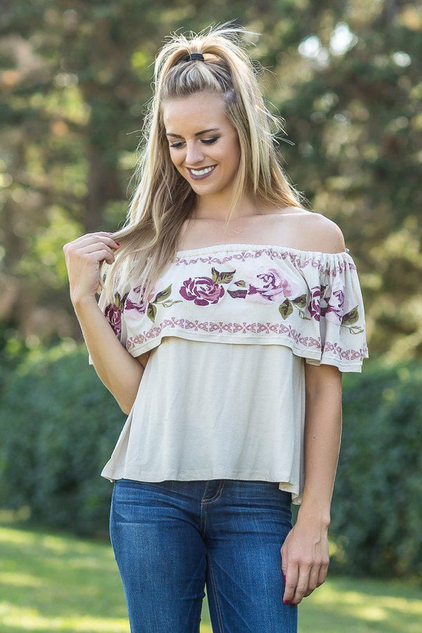Country Love Off the Shoulder Floral Top