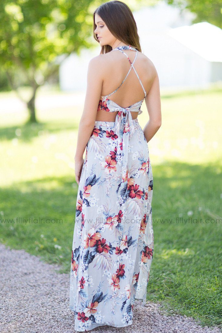 Hawaiian Nights Maxi Dress in Light Grey
