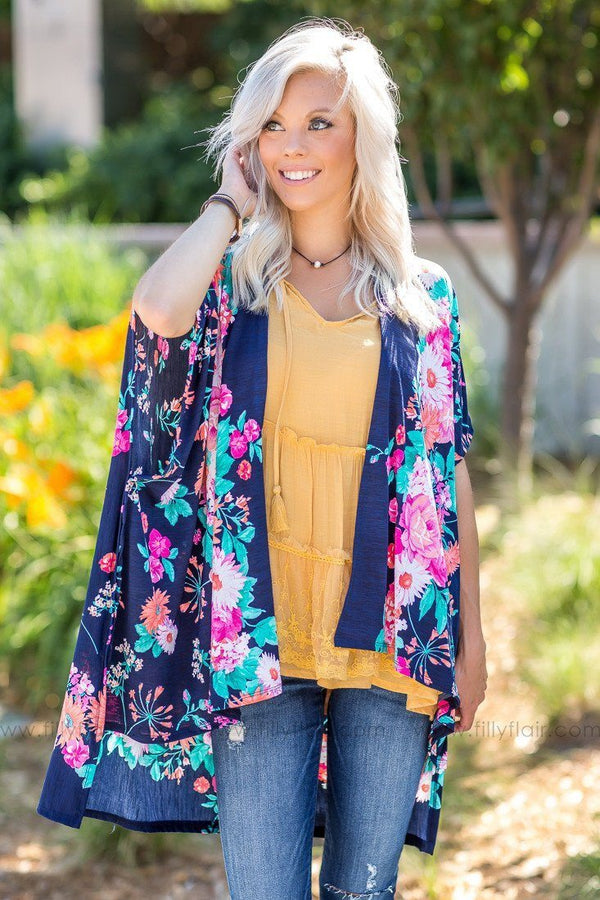 Over The Rainbow Floral Print Kimono in Navy