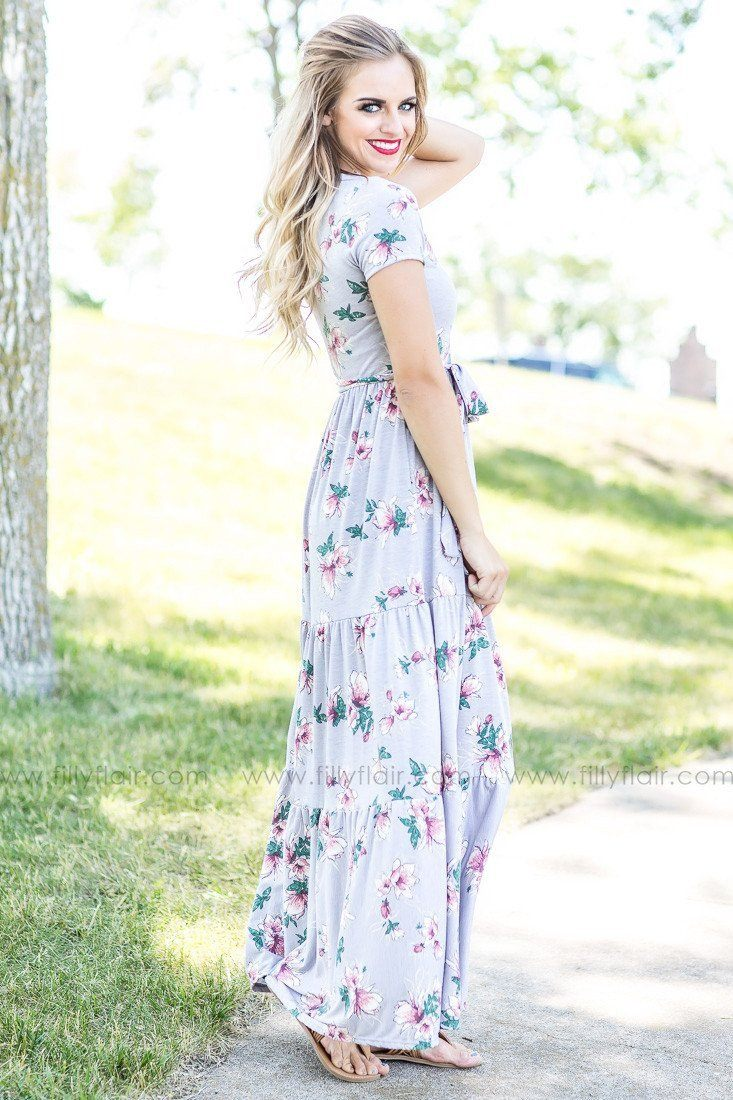 Everyday Grey Floral Short Sleeve Maxi Dress w/ Tie