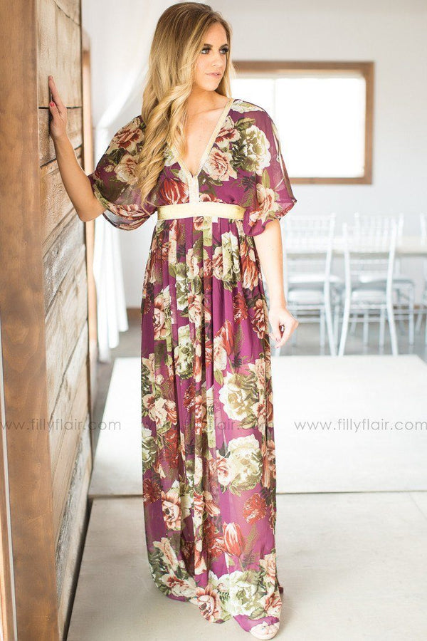 floral long maxi dress with gold trim