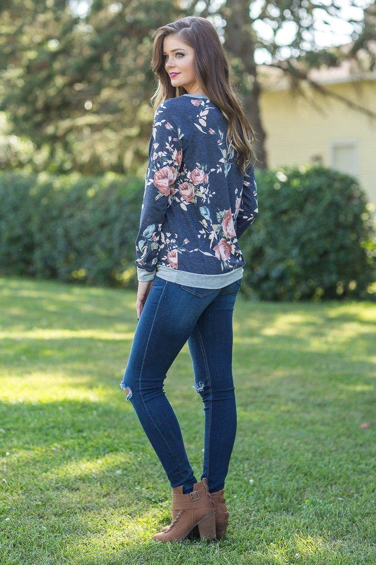 Cute as Ever Floral Printed Long Sleeve Pocket Ruffle Detail