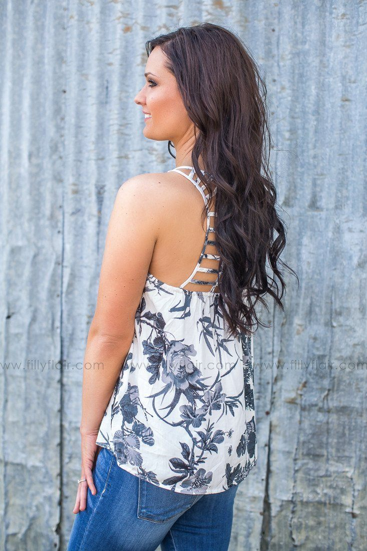 strappy back floral tank top