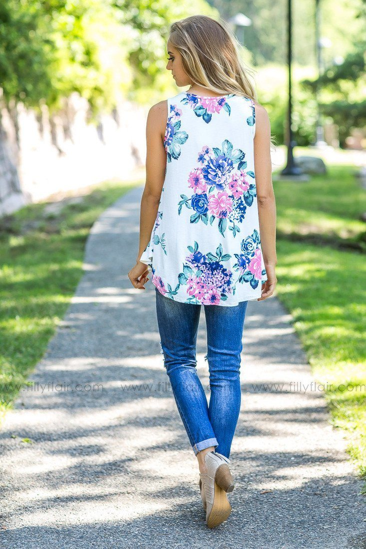 In The Park White Floral Printed Tank Top