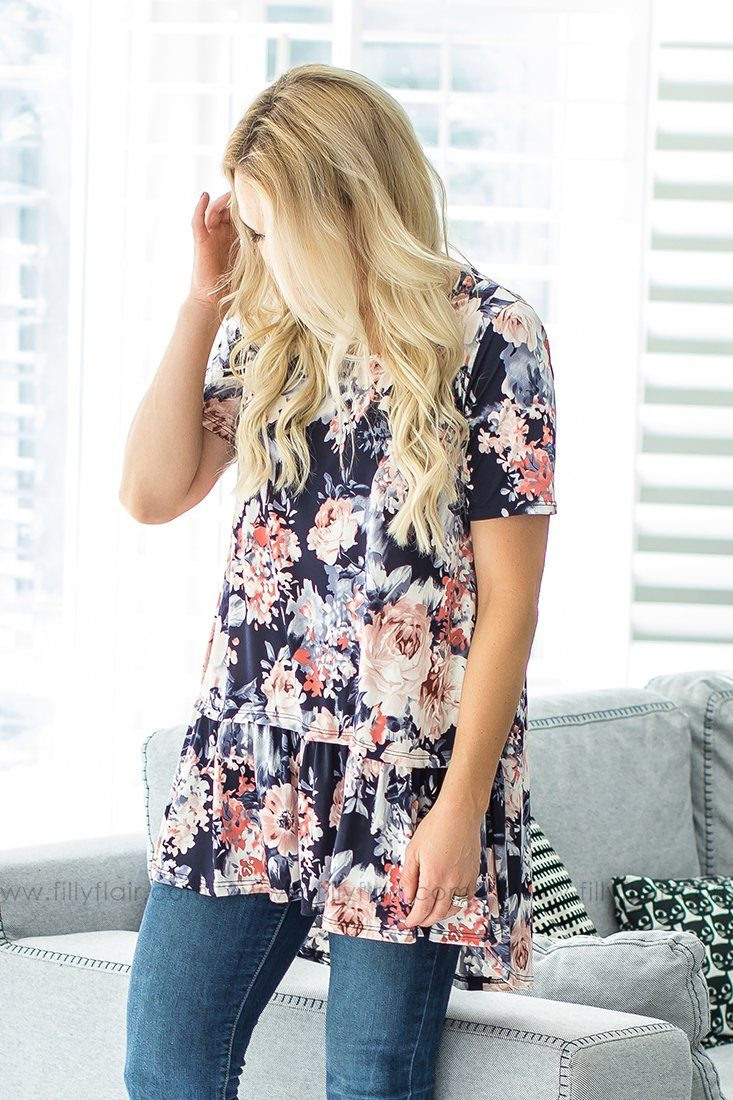 Where You Lead Floral Ruffle Hem Top In Navy
