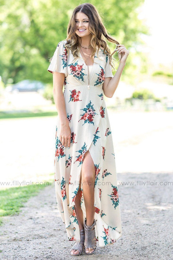 Naturally Nude Taupe Floral Wrap Maxi Dress