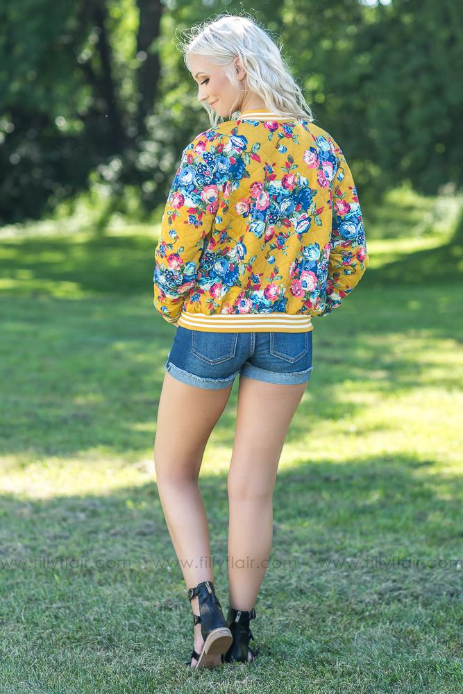 One You've Been Waiting For Floral Bomber Jacket in Mustard - Filly Flair