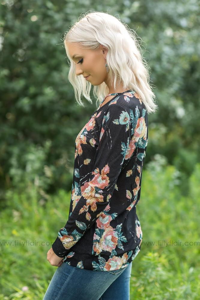 Waiting on You Black Floral Long Sleeve Top - Filly Flair