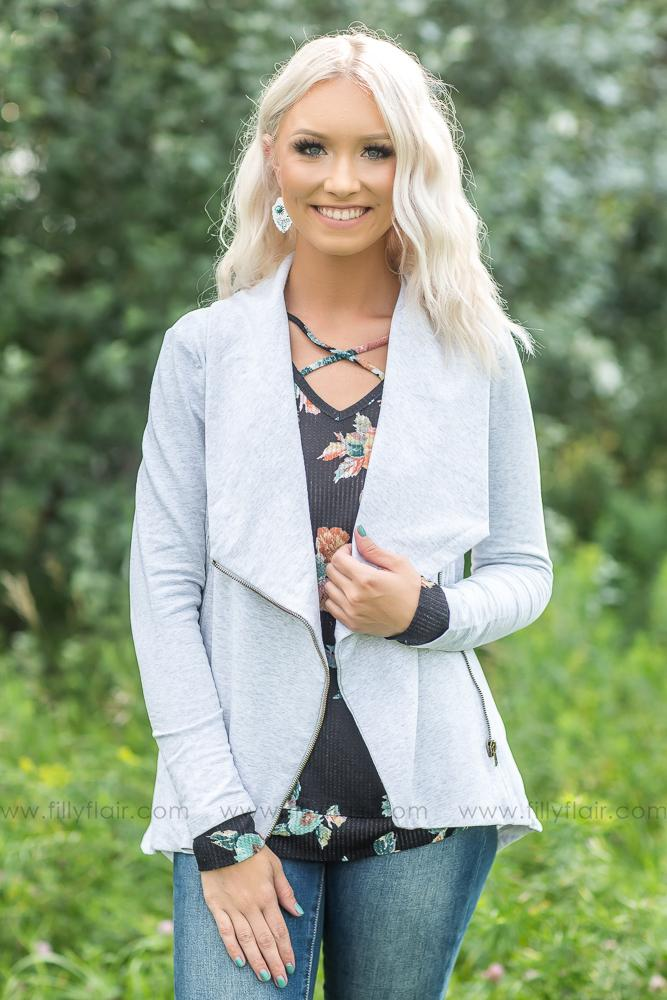 In My Dreams Heather Grey Sweater Jacket - Filly Flair