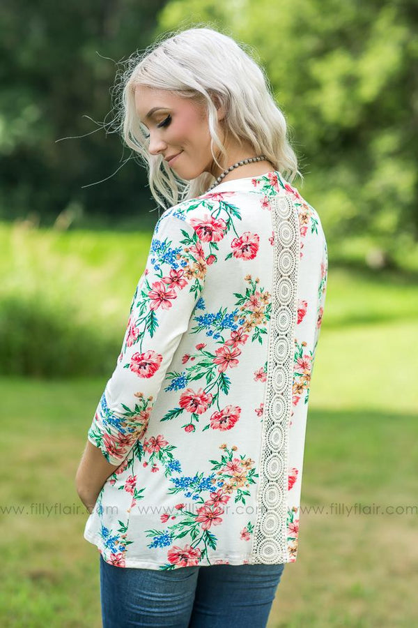 Filly Flair Exclusive: Floral Lace Back Cardigan In Ivory - Filly Flair