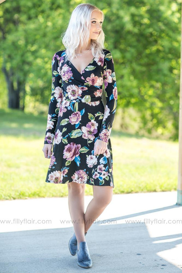 Once Upon A Dream Black Floral Long Sleeve Dress - Filly Flair