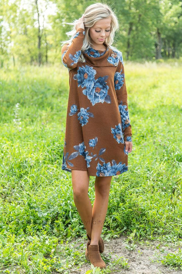 Fall For Me Floral Dress with Buttons