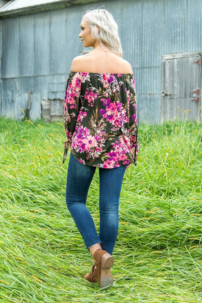 Into You Off the Shoulder Floral Top in Olive - Filly Flair