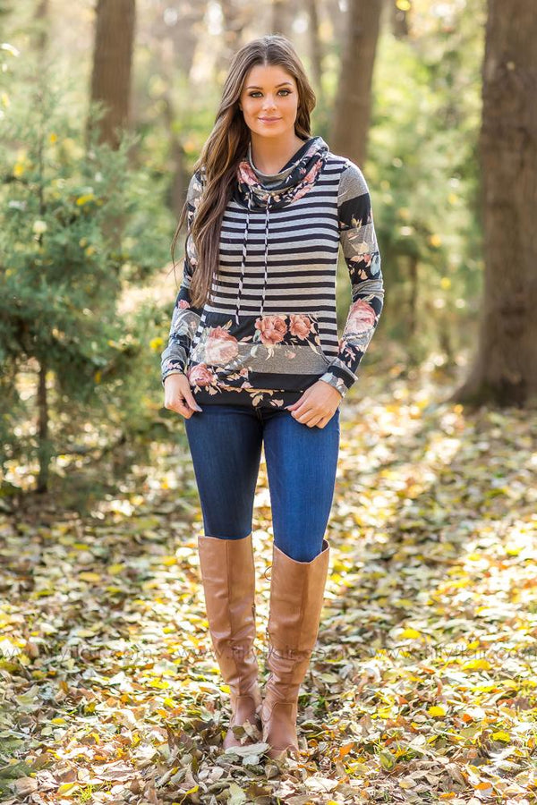 Isn't It Lovely Stripes &  Floral Combo Cowl Neck Long Sleeve Top* - Filly Flair