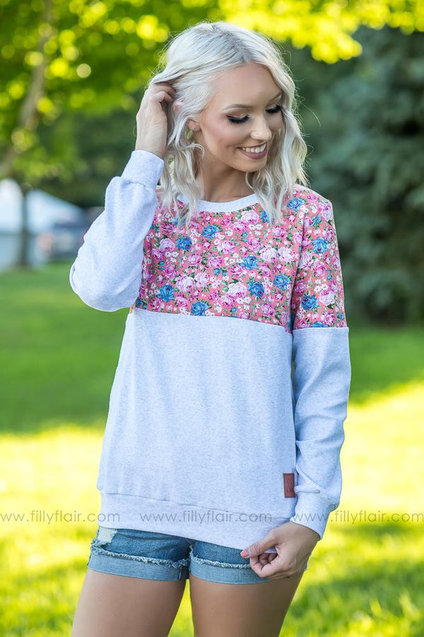 Pre-Order Ampersand Grey and Pink Floral Color Block Sweatshirt - Filly Flair