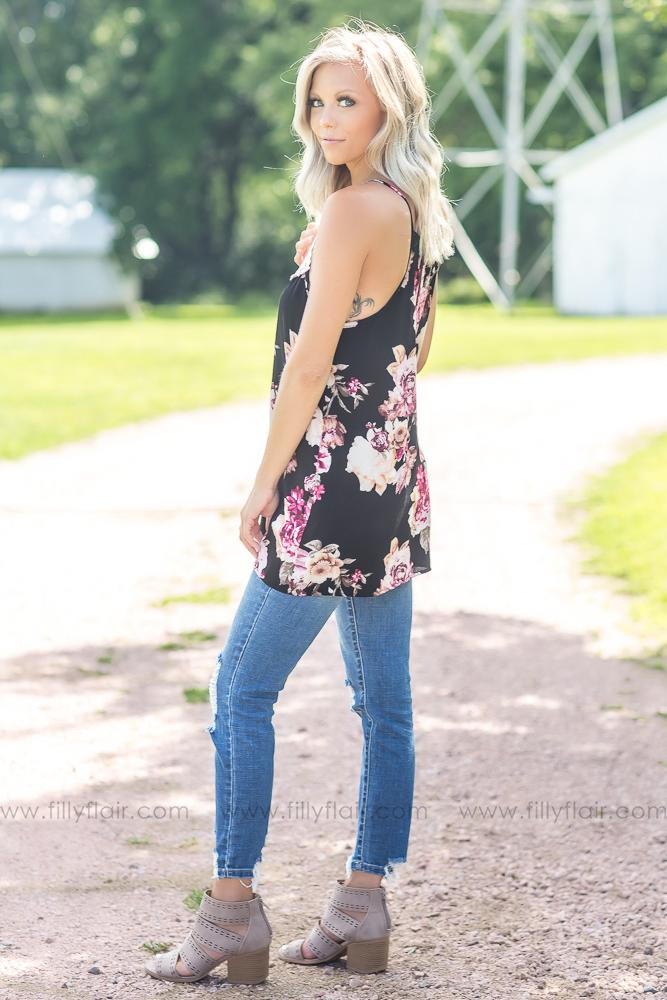 Black Floral Printed Crochet Lace Detail Tank Top - Filly Flair