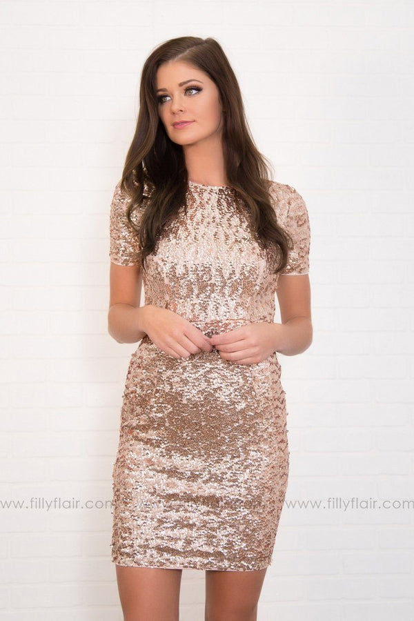 Make a Statement Sequin Short Sleeve Mid Dress