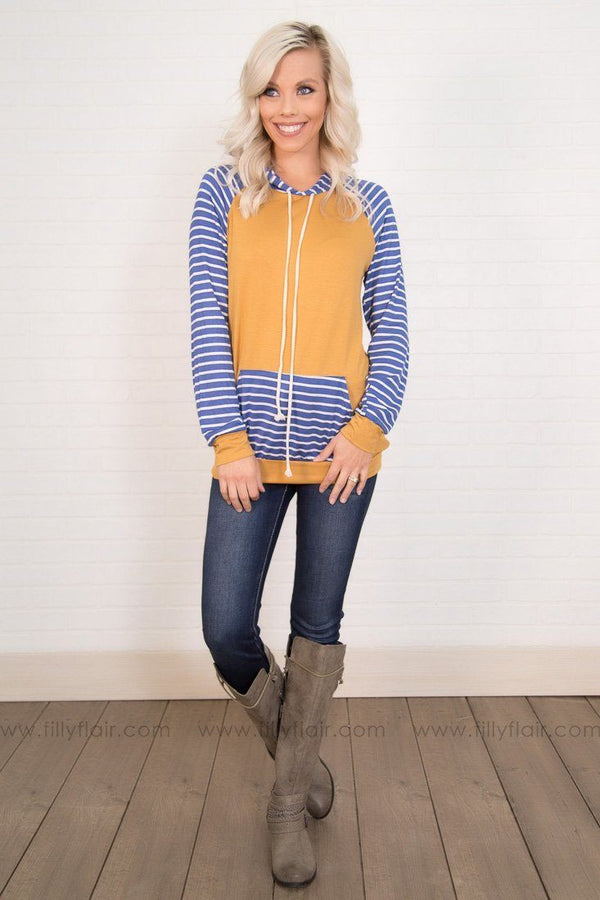 Go Blue White Striped Long Sleeve Top w/ Kangaroo Pocket