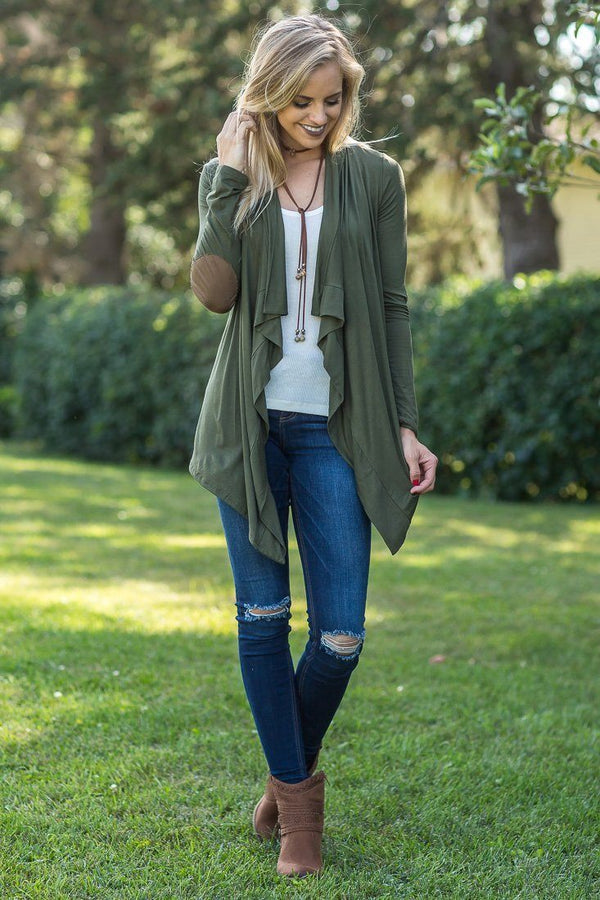 Uptown Girl Cardigan With Elbow Patches in Olive