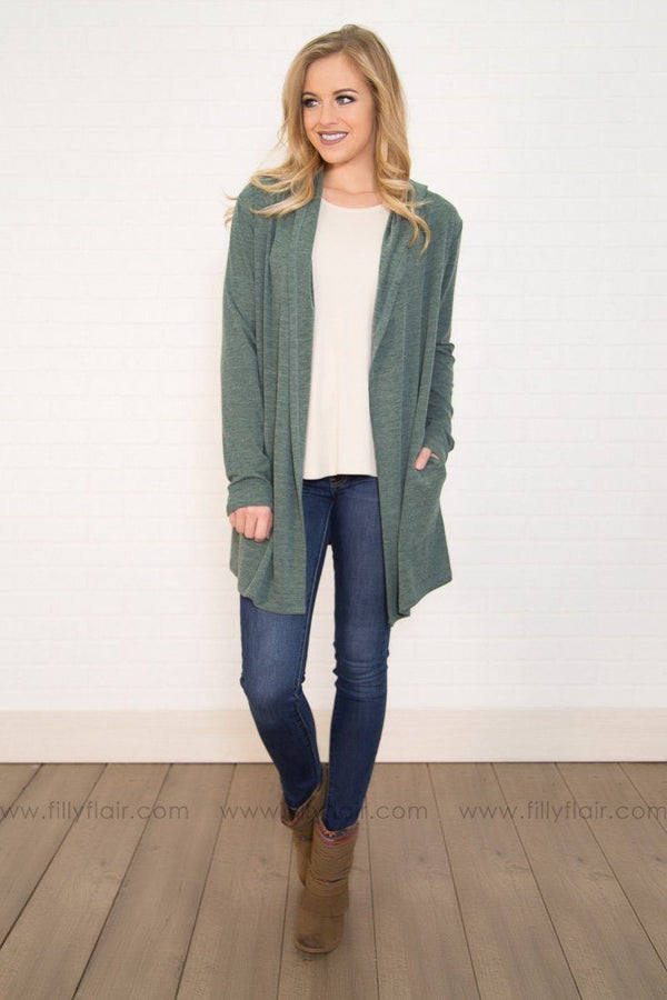 Stand By Me Hooded Cardigan In Forest Green