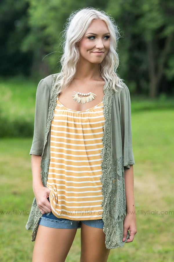 Every Last Detail Lace Cardigan in Olive - Filly Flair