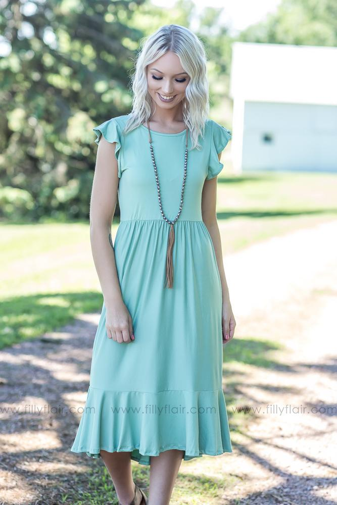 Can't Get Enough Solid Ruffle Mid Dress In Sage - Filly Flair