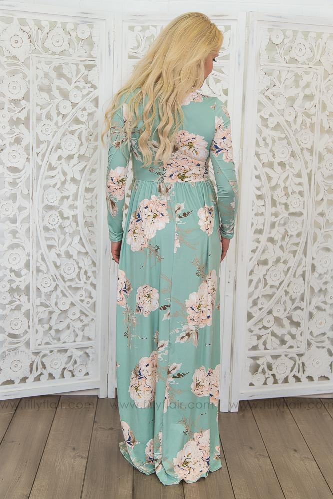 Come Back To Me Floral Maxi Dress In Mint