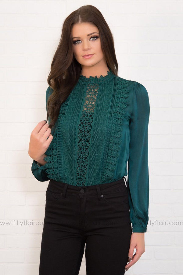 In Harmony Lace Detail Body Suit in Emerald Green