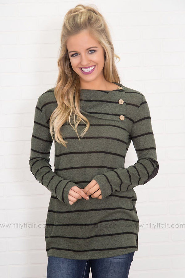 Girl Crush Button Neckline Long Sleeve in Olive