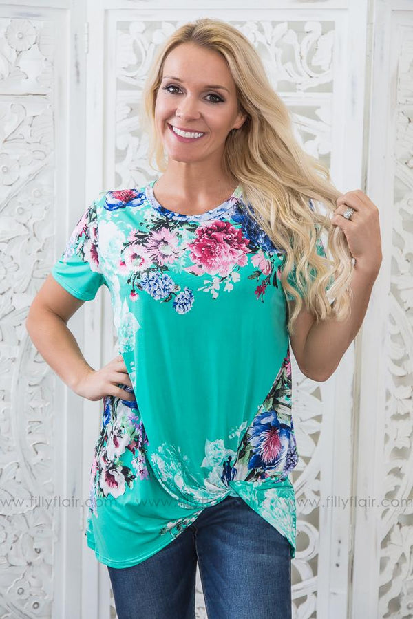 Road Less Traveled Floral Knotted Top In Sea Green
