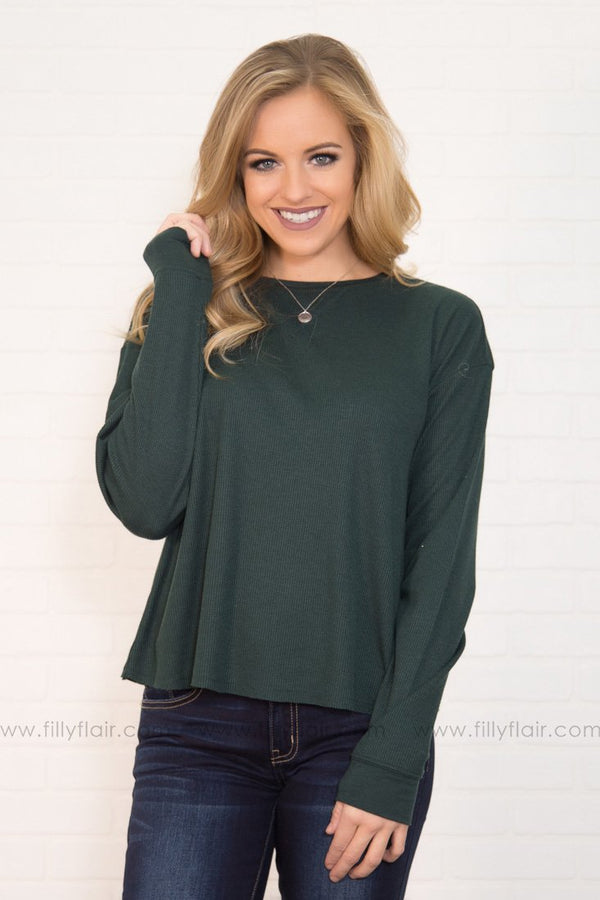 Warm Me Up Basic Long Sleeve Top in Forest Green