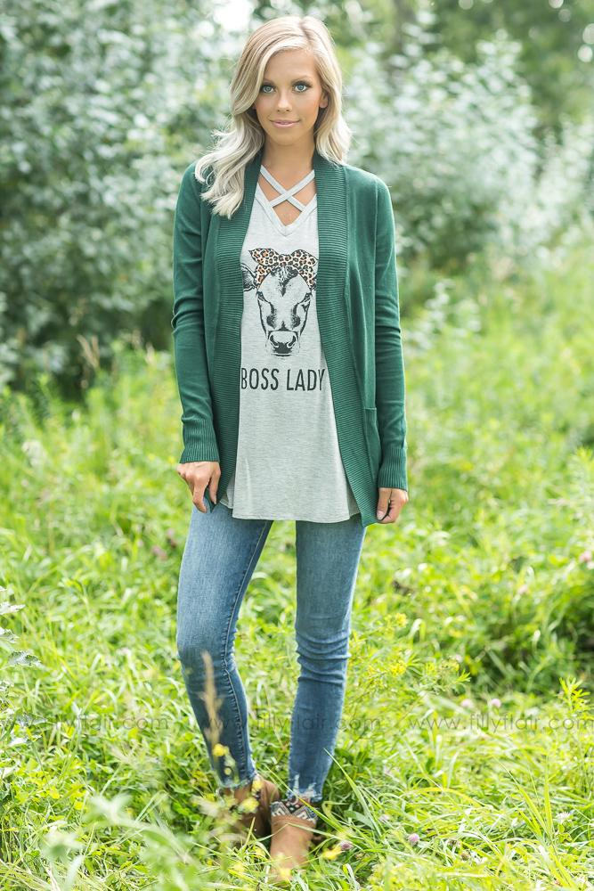Wildest Dreams Open Short Cardigan With Pockets In Forest Green - Filly Flair