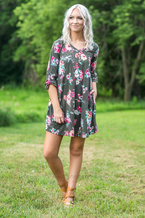 Follow My Ways 3/4 Sleeve Floral Dress in Olive