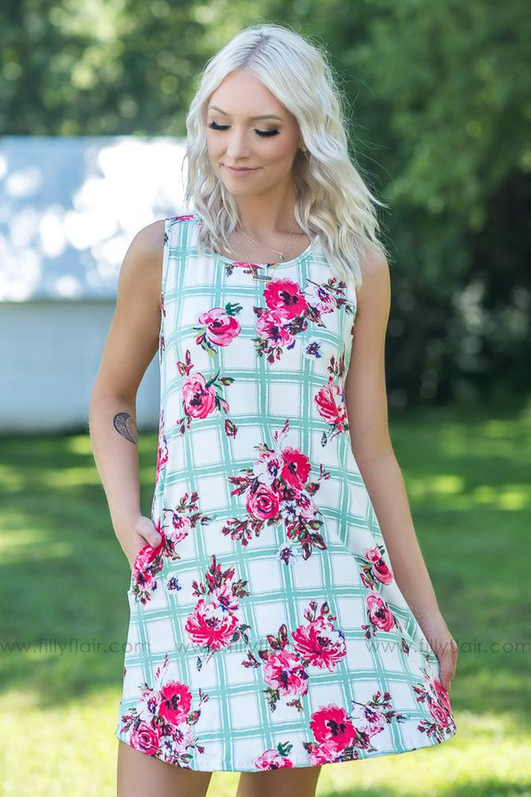 A Life That's Good Floral Sage Print Dress on Off White - Filly Flair