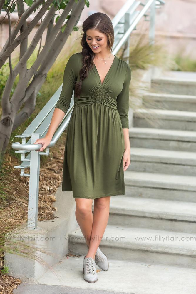 Sweet and Simple Long Sleeve Dress in Olive - Filly Flair