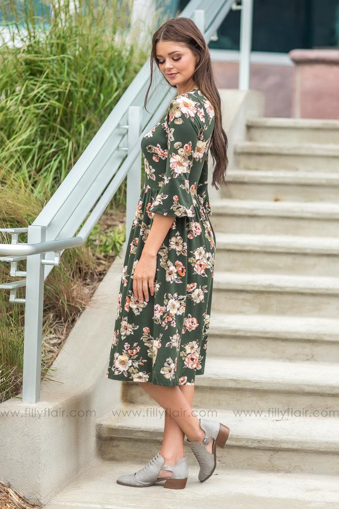 Forever Beautiful Floral Long Sleeve Dress in Olive - Filly Flair